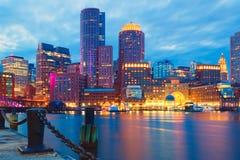 Boston Harbor and Financial District at sunset. Boston, Massachusetts, USA Stock Photography