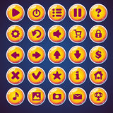 Botões redondos ajustados para o jogo de vídeo da Web Fotos de Stock Royalty Free