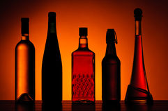 Bottles of alcoholic drinks Royalty Free Stock Photography