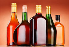Bottles of assorted alcoholic beverages including and wine Stock Photo