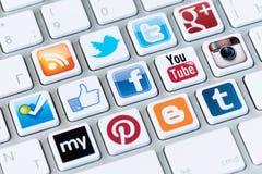 Bottoni sociali di media Fotografia Stock Libera da Diritti
