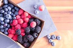 Box of Fresh Seasonal Autumn Berries Stock Photo