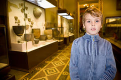 Boy at excursion in historical museum Stock Photography