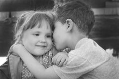Boy and girl kissing. Royalty Free Stock Photo