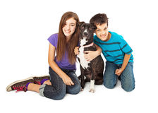 Boy and Girl With New Dog Stock Photo