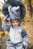 Boy wearing dinosaur costume Stock Images