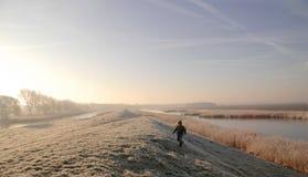 Boy in Winter Landscape Stock Photos