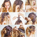 Braided updo tutorial for a curly hair Stock Image