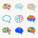 Brain, creation and idea vector icon set Stock Images