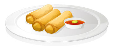 Bread roll and sauce Royalty Free Stock Image