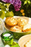Bread served outdoors Royalty Free Stock Photography
