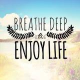 Breathe deep enjoy life Royalty Free Stock Image