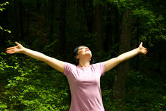 Breathing the fresh air from a spring forest Royalty Free Stock Images