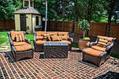 Brick Patio and Furniture Royalty Free Stock Images