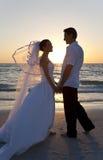 Bride & Groom Married Couple Sunset Beach Wedding Stock Photos