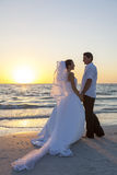 Bride & Groom Married Couple Sunset Beach Wedding Royalty Free Stock Images