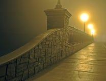 Bridge in Fog at Night Stock Photos