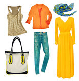 Bright modern clothes set. Collage female clothing wear isolated Royalty Free Stock Photos