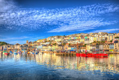 Brixham Devon England UK English harbour summer day with brilliant blue sky Royalty Free Stock Photo