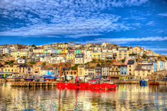 Brixham Devon England UK English harbour summer day with brilliant blue sky Stock Photos
