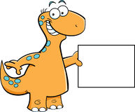 Brontosaurus with a sign Royalty Free Stock Photography
