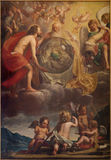 Bruges - The Holy Trinity at the creation probably by Jan Anton Garemjin (1712 - 1799) in st. Giles church Royalty Free Stock Photography
