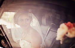 Bruid in venster Royalty-vrije Stock Afbeeldingen