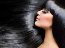Brunette Girl. Healthy Long Hair Stock Photo