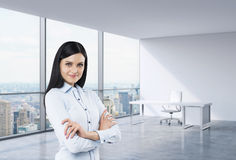 A brunette woman in a workplace at modern corner panoramic office in New York, Manhattan. A concept of financial consulti Stock Images