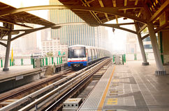 Bts sky trains in bangkok city important urban transportation in Royalty Free Stock Image