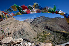 Buhhist flag in ladakh Stock Photos