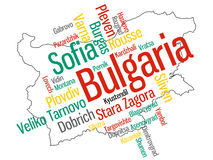 Bulgaria map and cities Royalty Free Stock Images