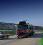 Bulk car haulage truck on highway Royalty Free Stock Photography