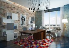 Bureau van het luxe het moderne huis. Stock Afbeeldingen
