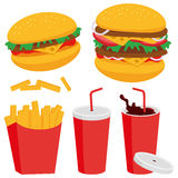 Burger fries and drink Stock Images