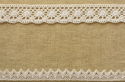 Burlap with lace Royalty Free Stock Photos