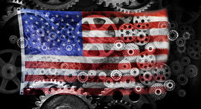 Business American Flag Cogs Background Stock Photos