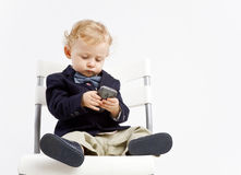 Business baby with phone Royalty Free Stock Photography
