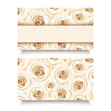 Business card with white roses. Vector EPS-10. Stock Images