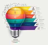 Business concept infographic template. Lightbulb and doodles ico Stock Photo