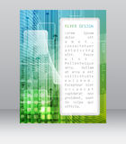 Business flyer template with abstract technological pattern, square and arrows Stock Photography