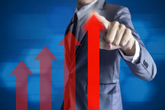 Business man touch modern interface growth up profit concept Stock Images