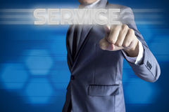 Business man touch modern interface for Service concept Stock Photography