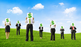 Business People Holding Placards with Dollar Signs Royalty Free Stock Images
