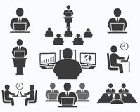 Business people. Office icons, conference, computer work Royalty Free Stock Image