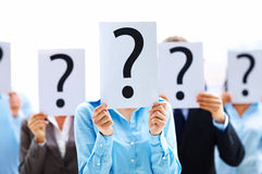 Business people with question mark Stock Photography