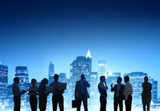 Business People Working Outdoors at Night Royalty Free Stock Images