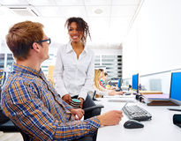 Business people young multi ethnic computer desk Royalty Free Stock Images