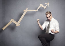Business winner cheering. Stock Images