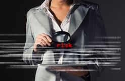Business woman found risks in information security Stock Image